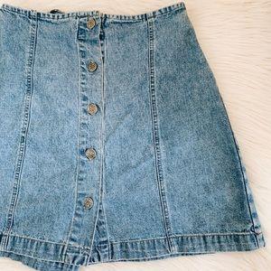 Vintage Denim Button Up Skort